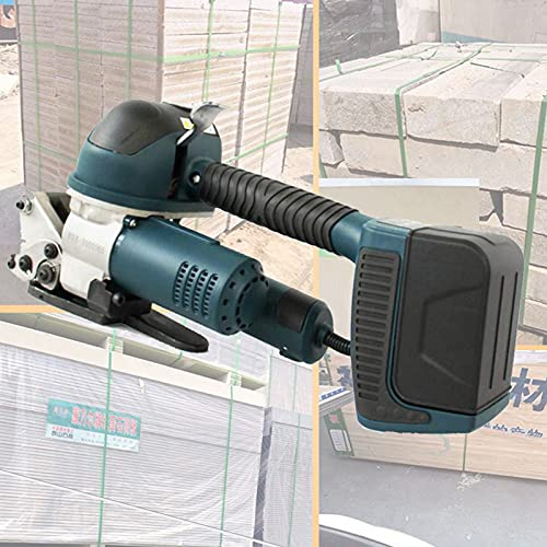 lxiluv Flejadora De Soldadura Eléctrica Máquina Flejadora De Cinta Automática Cargada Máquina Flejadora Portátil De Mano con Calefacción, 60-4000n Ajustable con 2 Baterías Recargables