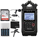 Zoom H4n Pro 4-Input / 4-Track Portable Handy Recorder with Onboard X/Y Mic Capsule (Black) + 32GB Memory Card + Professional Lavalier Condenser Microphone + 4 AA Batteries and Charger