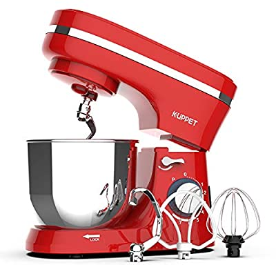 Kuppet Stand Mixers, 380W, 8-Speed Tilt-Head Electiric Food Stand Mixer with Dough Hook, Wire Whip & Beater, Pouring Shield, 4.7QT Stainless Steel Bowl. (Red)