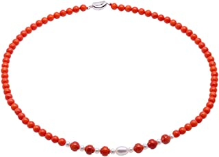 JYX Single Strand Coral Beads Necklace Natural 3.5-5.5mm Orange Coral Beads and freshwater Pearl Jewelry for Women
