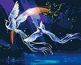 YUHHGFK Pintar por Numeros Pájaro Animal del Cielo Nocturno Pintura al óleo de Bricolaje con Pinceles y Pinturas - para Adultos, niños y Principiantes Decoración del hogar - 40 X 50 cm (Sin Marco)