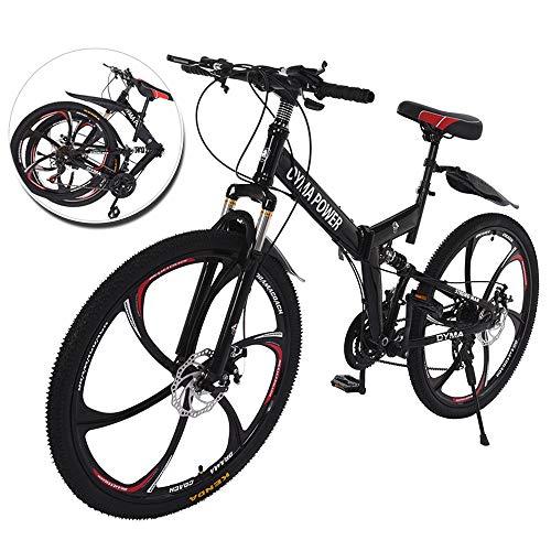 Qazqa 26 Inch Disc Brakes Mountain Bike, Folding Mountain Bikes for Men & Women, 21 Speed Bicycle Full Suspension MTB Cycle, Lightweight Durable Steel Frame