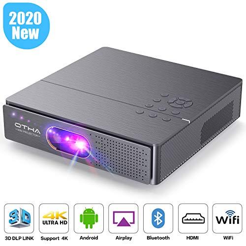 OTHA Proiettore 3D, 400 ANSI Lumen Mini Proiettori Supporto 1080P e 4K, Portatile Proiettore DLP con Android, Doppi Altoparlanti Hi-Fi, Wi-Fi, Bluetooth, HDMI per Home Theater e Giochi