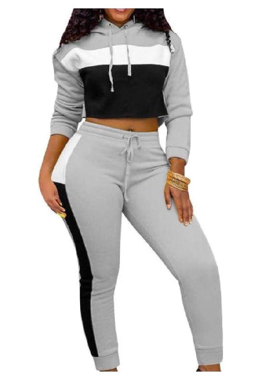 動揺させる知性に頼るCandiyer 女性カジュアルパーカースポーツステッチトップスジャケットとスウェットパンツの衣装