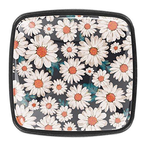 Daisy Flower - Pomelli in vetro di cristallo per armadietto, cassettiera, armadio, 4 pezzi