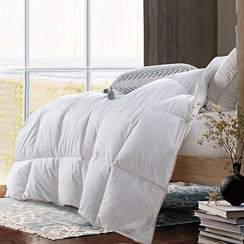 ROSECOSE Luxurious Lightweight Goose Down Comforter Queen Size Duvet Insert Solid White 1200 Thread...
