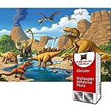 GREAT ART Papier Peint Photo de décoration Motif Dinosaure Enfants de chez GREAT ART 336x238cm /132.3x93.7 pouces: Papier peint 8 unités, colle incluse.