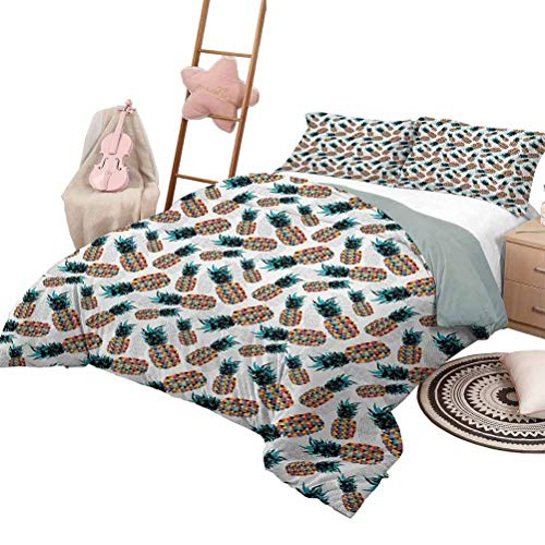 Daybed Quilt Set Contemporary Luxe Bedding 3 Piece Quilted Bedspread Coverlet Set Pines with Colorful Triangles Hipster and Geometric Tropical Fruit Design King Size Multicolor