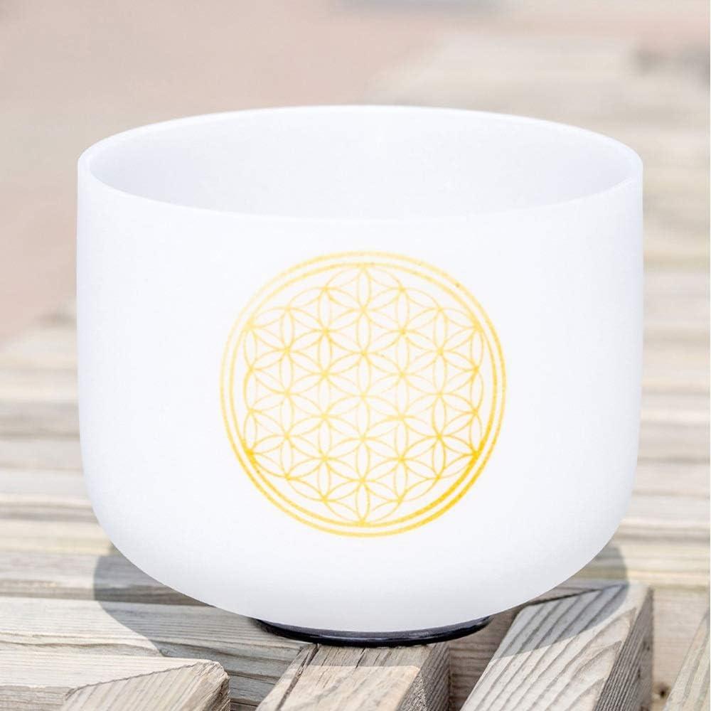 PQXOER Cuencos Tibetanos El Cristal de Cuarzo Canto Yoga Tazón de Sonido Tibetano Bowl por la música Sana de meditación de sanación Cuenco Tibetano para Meditación (Color : White, Size : 8 Inch)