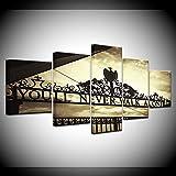 Moda Pintura Lienzo 5pcs HD Impresión Deportes Liverpool Puerta de Hierro Nunca caminarás Solo Arte Decoración Cartel de la Pared Modular Cuadro Lienzo Estampados (Size (Inch) : 20x35 20x45...