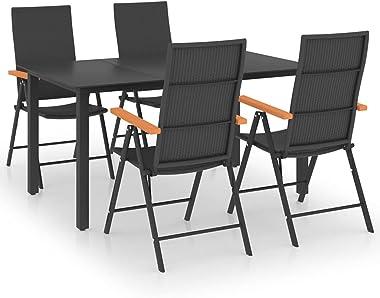 Garden Furniture, Terrace Furniture,Lightweight Structure,5 Piece Garden Dining Set Black and Brown armrest Chair