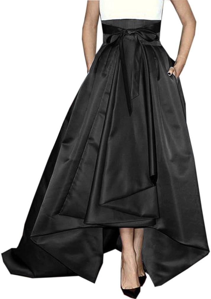 Lisong Women Floor Length High Low Bowknot Belt Satin Party Skirt