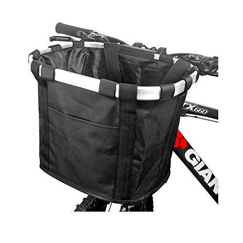 Wiiguda@Fahrradtasche vorne für Hund, Katze Damen Fahrrad Korb Vorne Abnehmbar Korb Pet Carrier, Schwarz