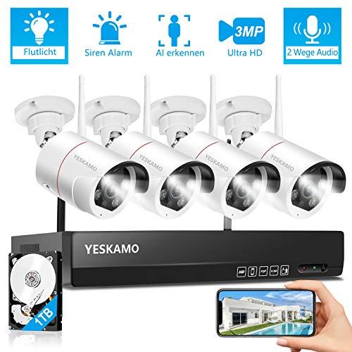 YESKAMO Überwachungskamera Set Flutlicht Aussen WLAN,3MP WiFi IP Cameras mit 8CH NVR Überwachungssystem mit 1TB HDD für Hausalarmanlagen mit AI PIR Erkennung,farbig Nachtsicht,Zweiweg Audio&Aufnahme