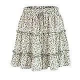 Charm4you Mujeres Faldas Enaguas Cortas,Falda Corta de Flores de Loto de Cintura Alta de Verano - Falda Corta i_L #,Falda Plisada de Encaje para Mujer