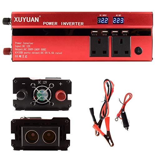 CCTV 1200w inversor de Corriente para Coche, convertidor 12v 220v, y Pantalla LED, Puerto USB Dual y Adaptador para automóvil para computadoras portátiles y teléfonos