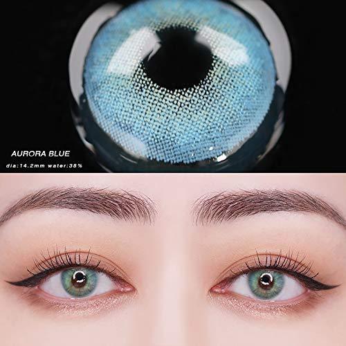 Lenti a contatto colorate,senza diottrie,morbide,durano fino a 12 mesi - 2 pezzi (blu)