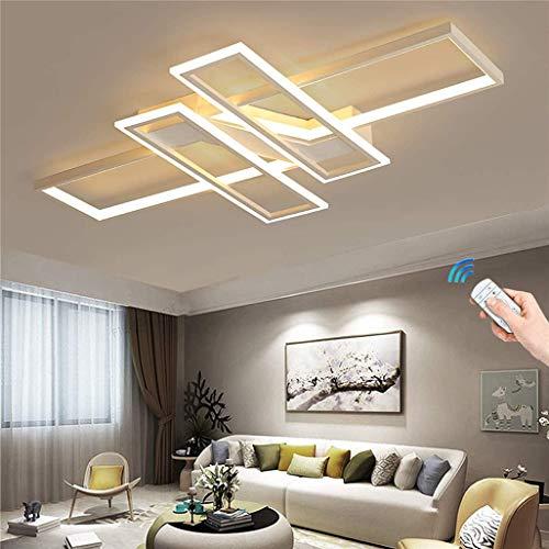 GH-YS LED-Deckenleuchte Dimmbar mit Fernbedienung/Kreatives unregelmäßiges Design Aluminium-Acryl-Deckenleuchte Wohnzimmerlampe Schlafzimmerlampe Bürodekorationslampe 94W, Weiß, 90 * 80CM / 94W