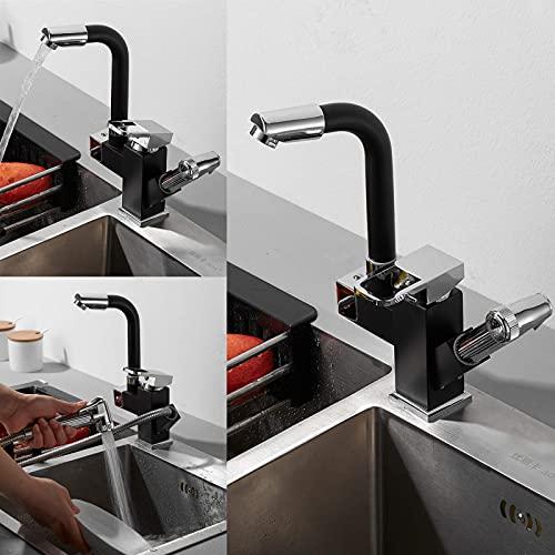 WYDM Grifo para Lavabo extraíble para baño, Cocina, lavadero, lavaplatos 360 & deg;Grifo para Lavabo con caño Giratorio, Grifo con rociador, Acabado Cromado Negro