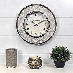 FirsTime & Co. Arabesque Mosaic Wall Clock, 10.5, White, Chrome