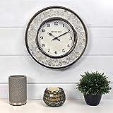 FirsTime & Co. Arabesque Mosaic Wall Clock, 10.5', White, Chrome