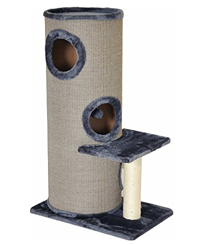 """nanook \""""Casimir - Kratztonne XL, 3 Etagen, seitlicher Sitzplatz mit Sisalstamm - Höhe: 102 cm - Farbe: grau"""