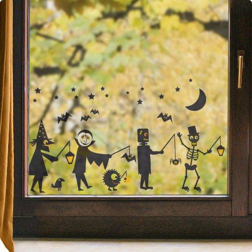 Wandmotive.de Fensterbild Halloween Laternenumszug (60 cm x 35 cm), Statische Folie für Fenster oder Glas, in 3 verschiedenen Größen, für Wohnung oder Kinderzimmer, wiederverwendbar