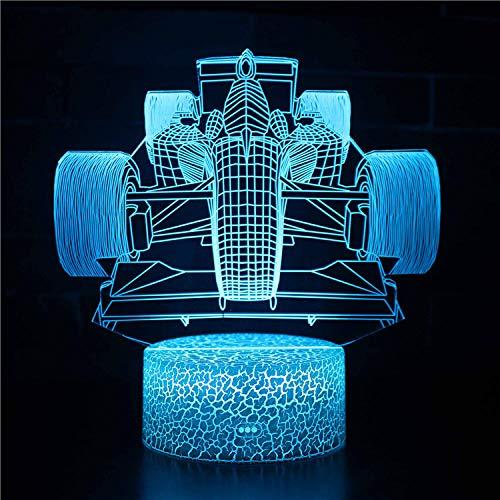 Lámpara de Noche de Ilusión óptica 3D LED de la carga USB del efecto creativo de la ilusión 3D con 7 colores que cambian para las decoraciones del hogar/de la oficina Frente del coche F1