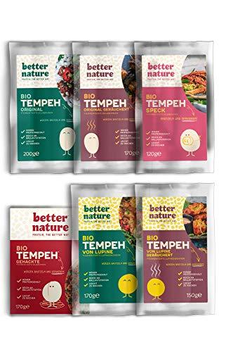 Better Nature - vollständige Bio-Tempeh Auswahl (6er-Pack) Vegane Fleischalternative