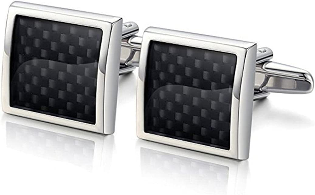 BO LAI DE Men's Cufflinks Environmentally Friendly Material Square Carbon Fiber Cuff Links Shirt Cufflinks Suitable for Wedding Business Luxury Tuxedo Formal Shirts, with Gift Box
