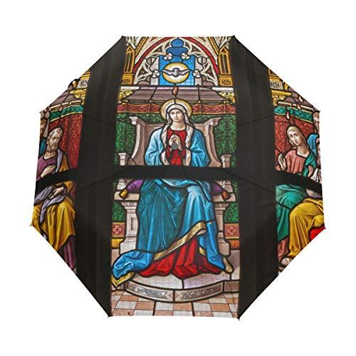 Pentecostés Paraguas de viaje compacto para ventana de cristal tintado, para exteriores,...