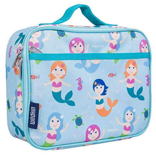 Wildkin Kids Insulated Lunch Box Bag for Boys and Girls, Perfect Size for Packing Hot or Cold Snacks for School and Travel, Mom's Choice Award Winner, BPA-free, Olive Kids (Mermaids)