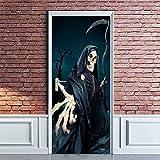 EQNLJA 3D Pegatinas De Puerta autoadhesivas de Vinilo Guadaña esqueleto Parca Murales Para Puertas 3D DIY Kids Room Nursery Cartel Pegatinas decoración de puertas arte papel pintado 84x205cm