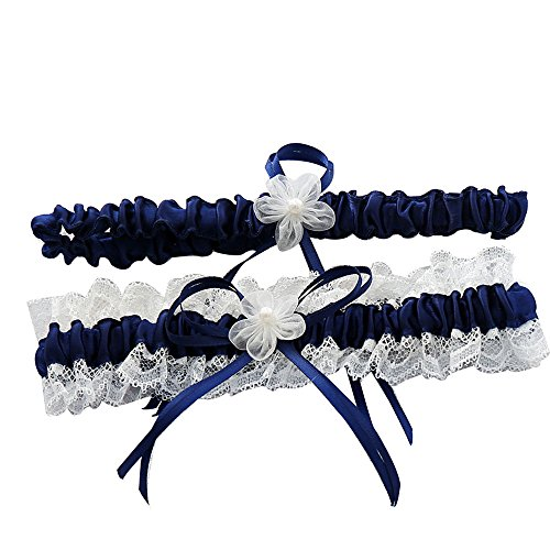 awtlife Royal Blue Lace Hochzeit Strumpfb�nder, mit Toss Away Flower Decor