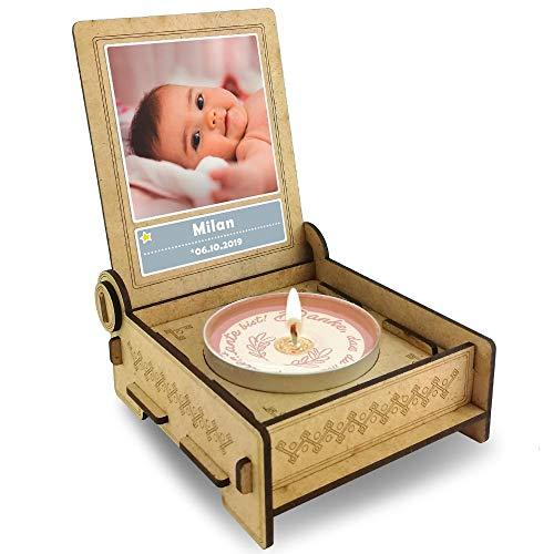 FANS & Friends Candle IN The Box geschenkdoos voor patentante met boodschap & kaars | Gepersonaliseerd met foto en naam | Dank je dat je mijn patentant bent