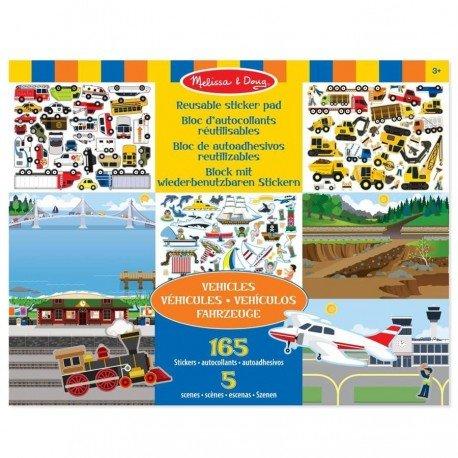 Melissa and doug - AUTOCOLLANTS 150 Stickers REPOSITIONNABLES Les VEHICULES + 5 scènes Enfants dés 3 ans