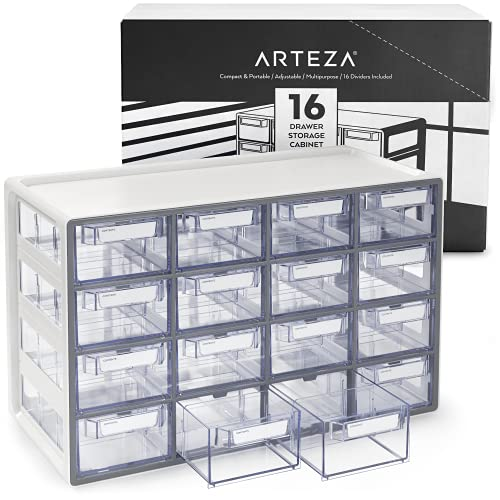 Arteza ​16 Drawer Storage Cabinet, 17.7 x 8.2 x 10.9 inches, White, Plastic Drawers​ with Stoppers, ​Multi Compartment Organizer for Makeup and Art Supplies