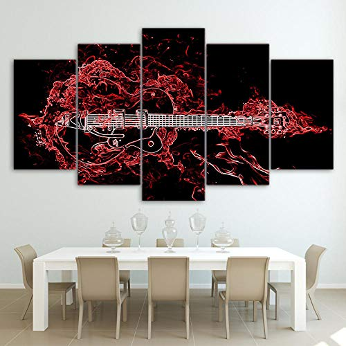 BDFDF Cuadro En Lienzo Impresión 5 Piezas Artística Lienzo Decoracion De Pared del Hogar Música De Guitarra Roja Abstracta Carteles Pintura 5 Cuadros Arte Creativos 150X80Cm