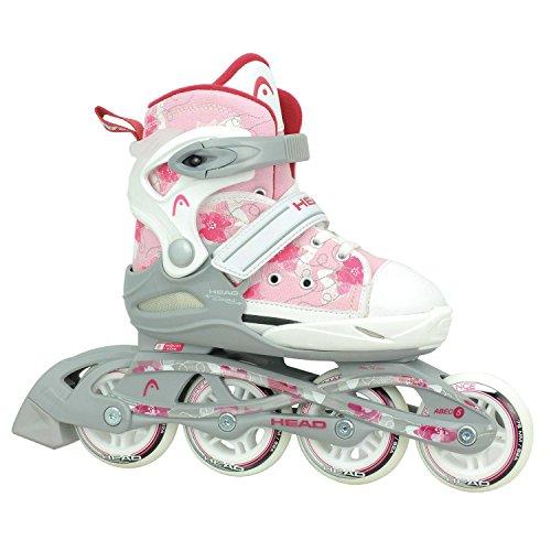 HEAD - Kinder Inlineskates I verstellbar I 6 Größen I Rollerskates für Kinder I ideal für Anfänger I komfortable Skates I Inliner für Mädchen I mit Blumen-Design - Rosa/Weiß