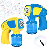 2 Bubble Guns with 2 Large Bottles Bubble Solution, Portable Bubble Machine for Kids, 1000+Bubbles Per Min, Simple One Button No Holding Trigger, for Party, Wedding, Outdoor Games, Birthday Gift