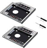 Neuftech 2X Soporte Adaptador óptica bahías de Disco Duro Caddy SATA 2nd 2.5'' HDD 9.5mm para HP/ASUS/Acer/DELL/Lenovo/Laptops etc