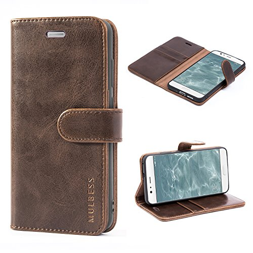 Mulbess Handyhülle für Huawei P10 Lite Hülle, Leder Flip Hülle Schutzhülle für Huawei P10 Lite Tasche, Vintage Braun