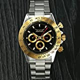 Reloj para Hombre Reloj Mecánico Masculino Automático Hueco Calendario De La Semana De Negocios De La Moda Hombres Anillo De Oro Negro