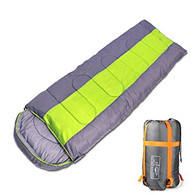 Sleeping bag, packable backpacking sleeping bags with ultralight lightweight, 2 bags spliced as a big double sleeping bag for outdoor travel, hiking, camping in all seasons (Green color left zipper)