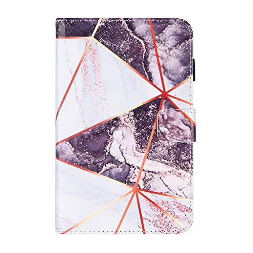 HEYLULU Estuche Protector para Tableta Amazon Fire7 2019/17/15 Estuche Protector para Dormir automático de Cuero PU en Blanco y Negro