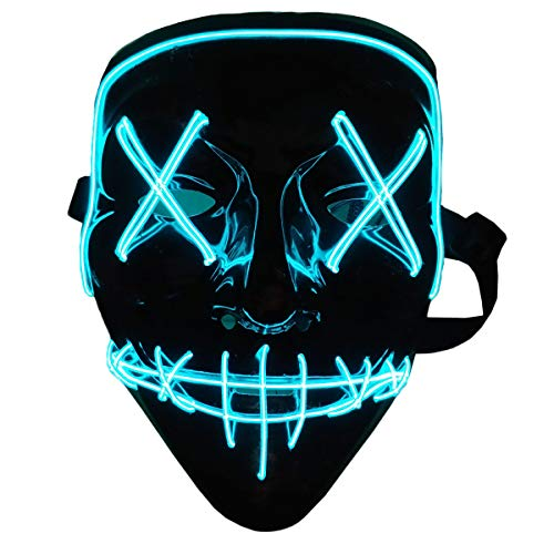 Halloween Mask LED Light Up Mask Halloween Scary Cosplay Mask for Festival Parties Costume Blue
