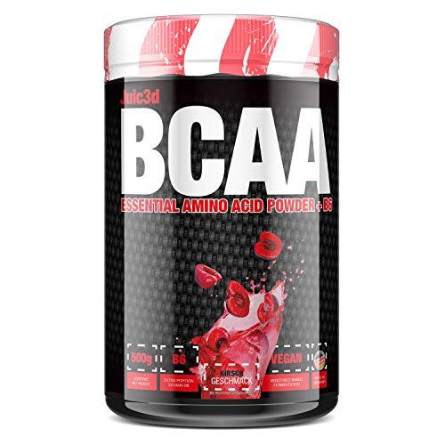 sinob Juic3d BCAA (Kirsche). Instant Aminosäure Pulver. Vegan, Vitamin B6, Aminos 2:1:1 Leucin, Isoleucin, Valin. 1 x 500g