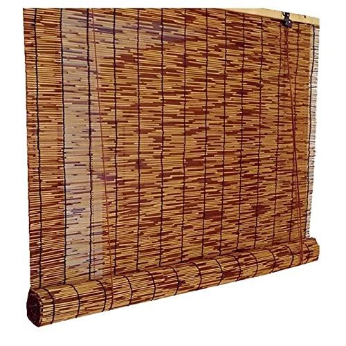 Persianas enrollables de caña, persianas enrollables de bambú y madera carbonizadas, protección de la privacidad, decoración, retro, impermeable y protector solar para jardines / balcones / cenadore