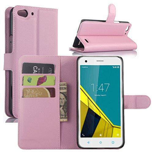 Vodafone Smart Ultra 6 Hülle, HualuBro [Standfunktion] [All Aro& Schutz] Premium PU Leder Wallet Tasche Schutzhülle Hülle Flip Cover mit Karten Slot für Vodafone Smart Ultra 6 Smartphone (Pink)