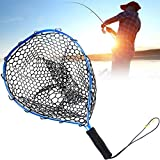 Crab Trap Floats Kescher Fliegenfischen Landung Forelle Netzfischerei Cast Net Catch and Release Net Ultra-Light-Aluminiumlegierung Gummi Dip Net Blau-Schwarz